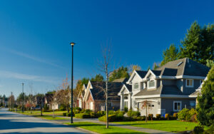 Residential street of houses to represent real estate in a seller's market