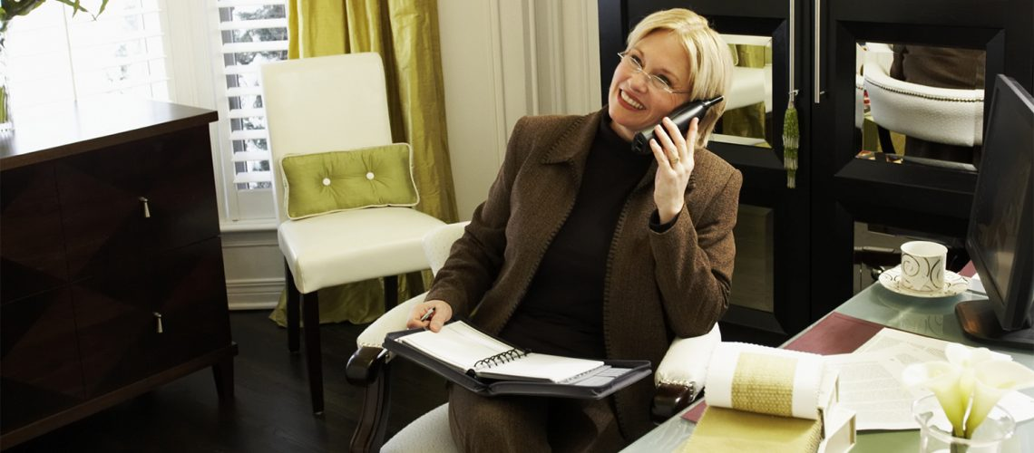 Businesswoman working from home office